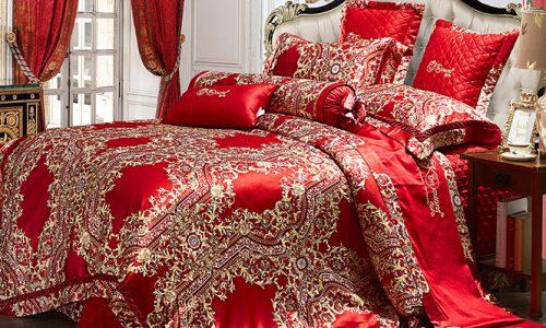 Bộ chăn drap phủ Luxury gấm lụa LXG 7201P