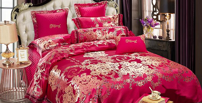 Bộ chăn drap phủ Luxury gấm lụa LXG 7801P