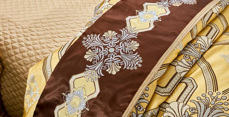 Bộ chăn drap phủ Luxury gấm lụa LXG 8403P